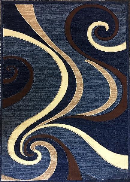 Amazoncom Americana Modern Area Rug Blue Brown Swirl Design 144 4