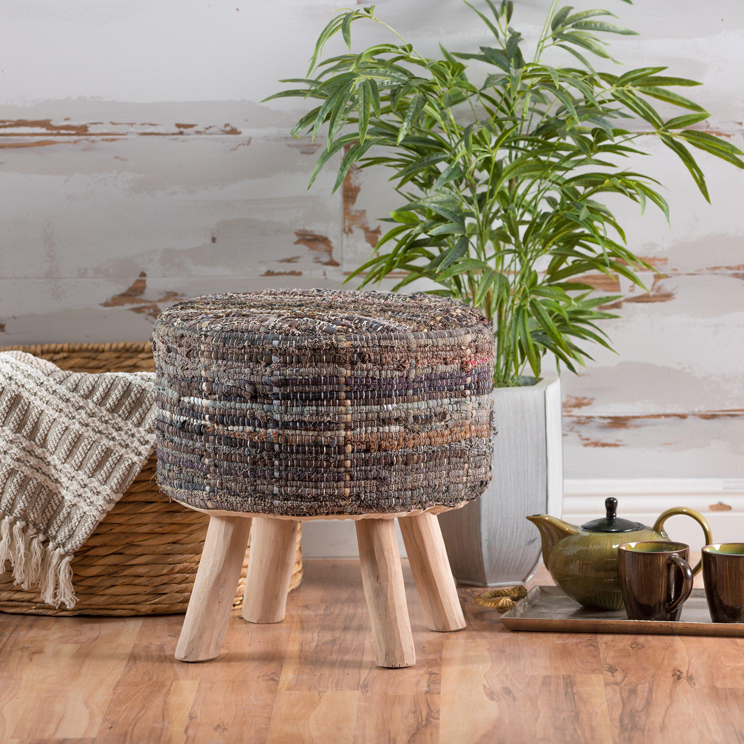Harrison Handwoven Fabric Round Stool (Khaki)