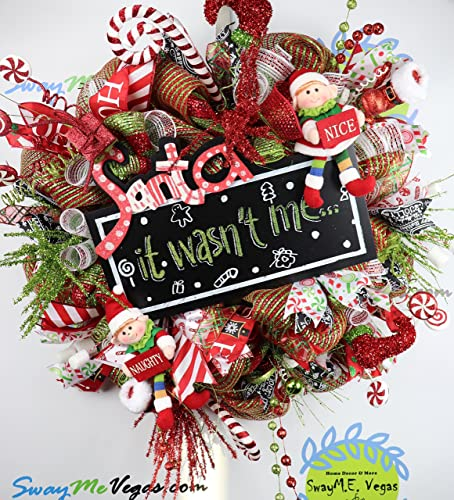 santa wreath christmas elf wreath whimsical christmas decor holiday door swag