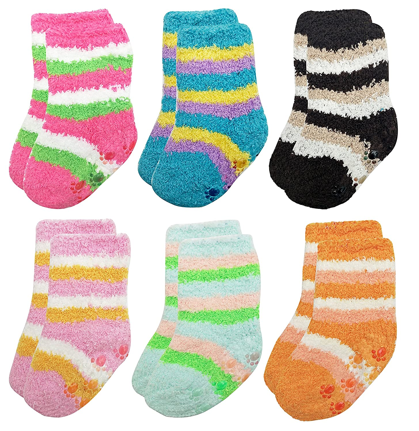 Deluxe Anti Slip Non Skid Slipper Socks with Grips For Baby Toddler Kids Girls