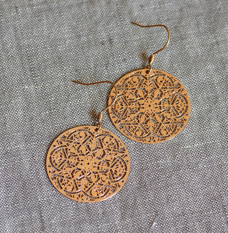 filigrane Mandala Ornament Ohrringe in roségold Boho: Amazon
