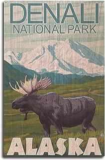 product image for Lantern Press Denali National Park, Alaska - Moose Scene (10x15 Wood Wall Sign, Wall Decor Ready to Hang)