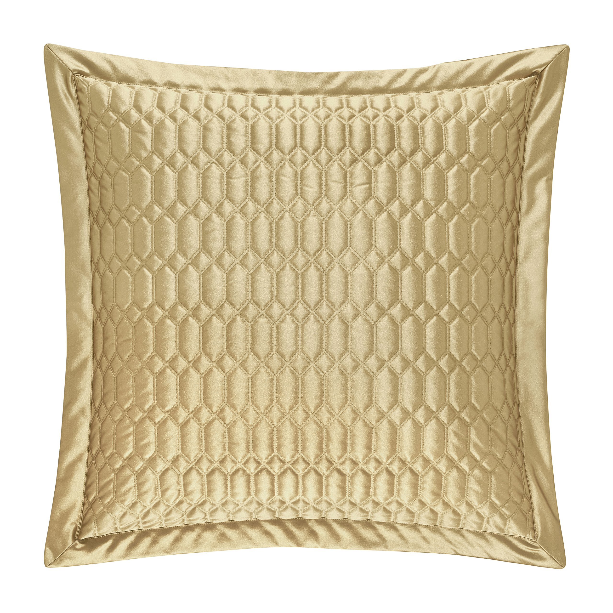 Five Queens Court Saranda Satin Geometric Quilted Euro Pillow Sham, Gold by Five Queens Court