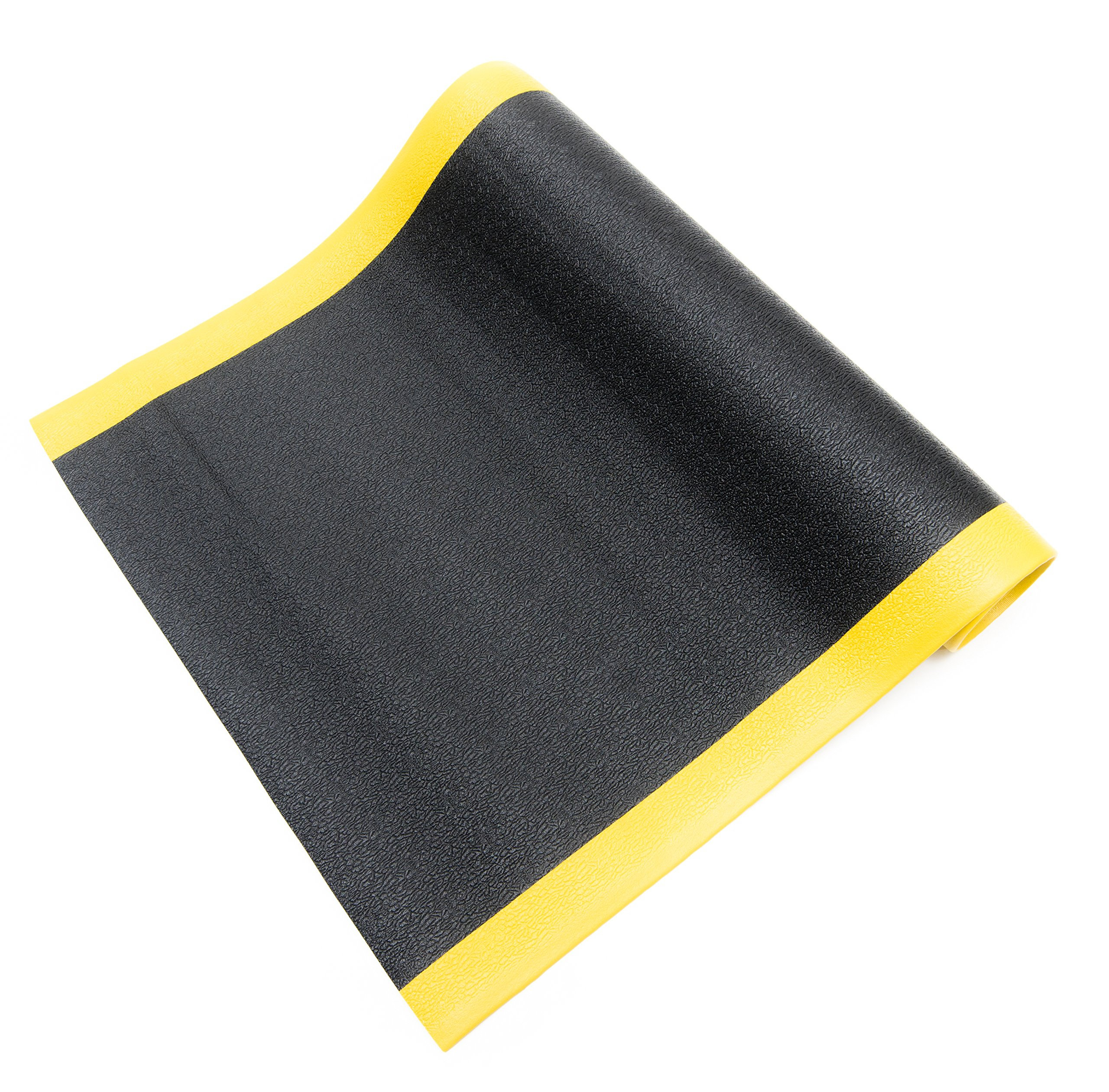 Bertech Anti Fatigue Vinyl Foam Floor Mat, 3' Wide x 8' Long x 3/8'' Thick, Textured Pattern, Black w/Yellow Border (Made in USA)