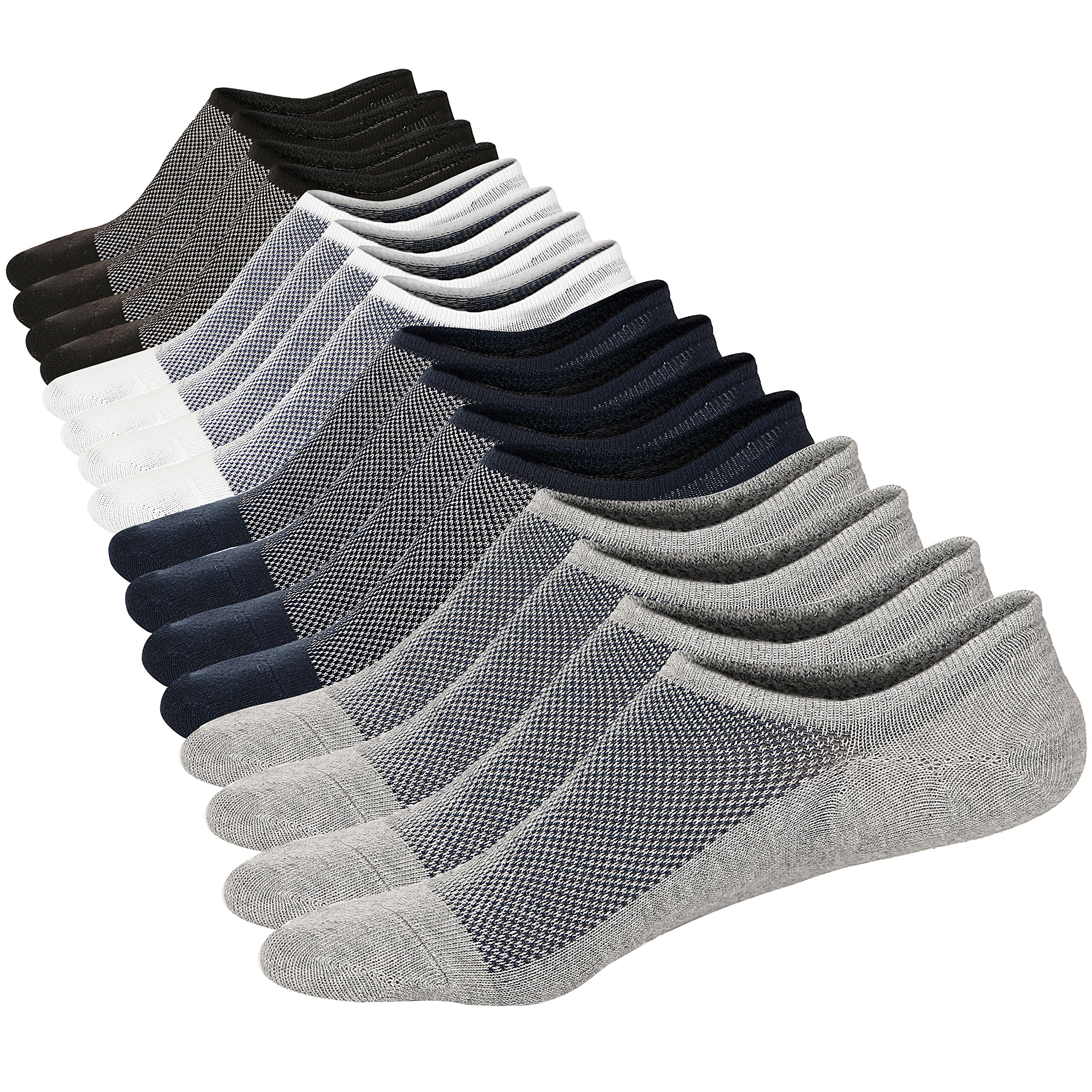 M&Z No Show Ankle Low Cut 8 Pairs Socks Mens/Womens Cotton Invisible Mesh Top Durable Toe Casual Non-Slip Socks Size M by Mottee&Zconia