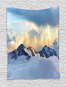 """Ambesonne Europe Tapestry, Alpine Landscape with Peaks Covered by Snow Clouds Panoramic View Picture, Wall Hanging for Bedroom Living Room Dorm Decor, 40"""" X 60"""", Blue White"""