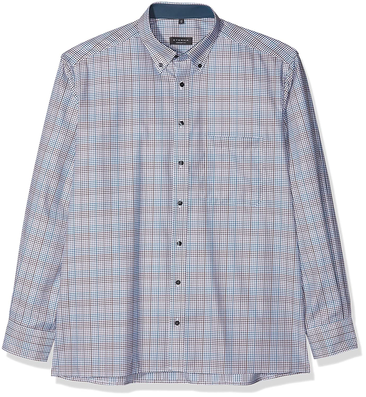 TALLA 42. Eterna Comfort Fit Langarm Grün Kariert Mit Classic Button-Down-Kragen, Camisa para Hombre