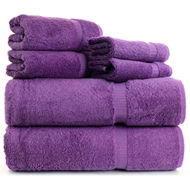 Indulge Towels 6-pieces Dobby Border Natural Turkish Cotton Towel Set (2 bath towels, 2 hand towels and 2 wash clothes) (6, Plum)