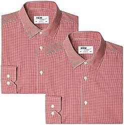Hem & Seam Men's Slim Fit Gingham Formal Shirt, Pack of 2
