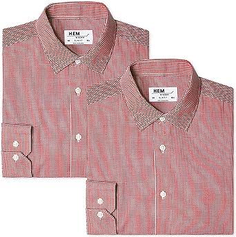 Camisa de Oficina para Hombre Label: M 39 cm Marca Hem /& Seam Slim Fit Gingham Rojo
