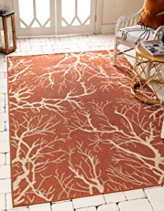 Unique Loom Outdoor Botanical Collection Abstract Pictorial Transitional Indoor and Outdoor Flatweave Terracotta Area Rug (8' 0 x 11' 4)