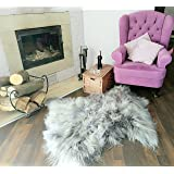 Genuine Icelandic Sheepskin Lambskin Rug Thick Wool Soft and Silky dyed Silver Grey XL 110-115 cm