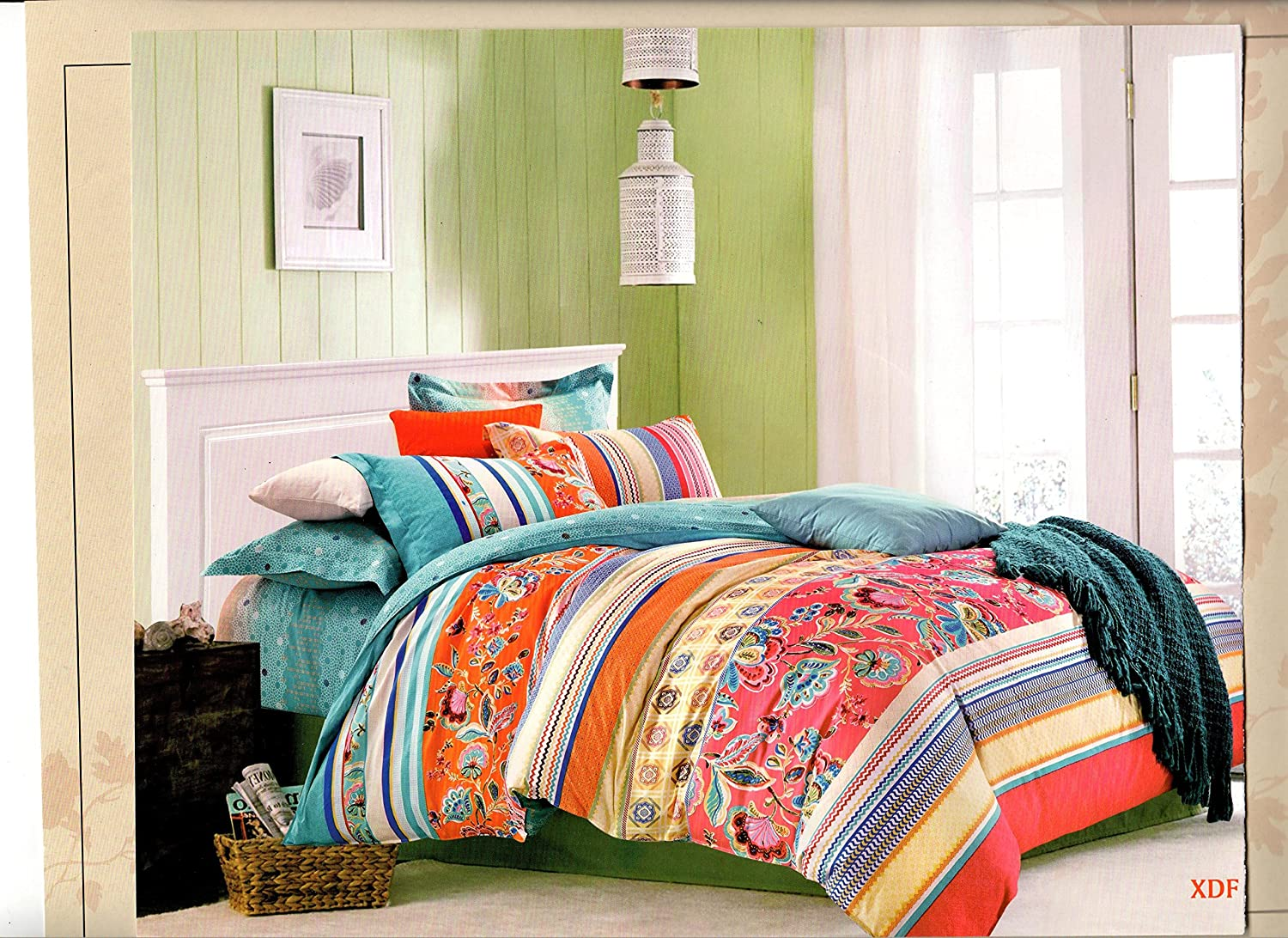 Moroccan Style 100% Cotton Color Hue Orange Teal Yellow Coral Pink Blue Red Striped Duvet Cover Set