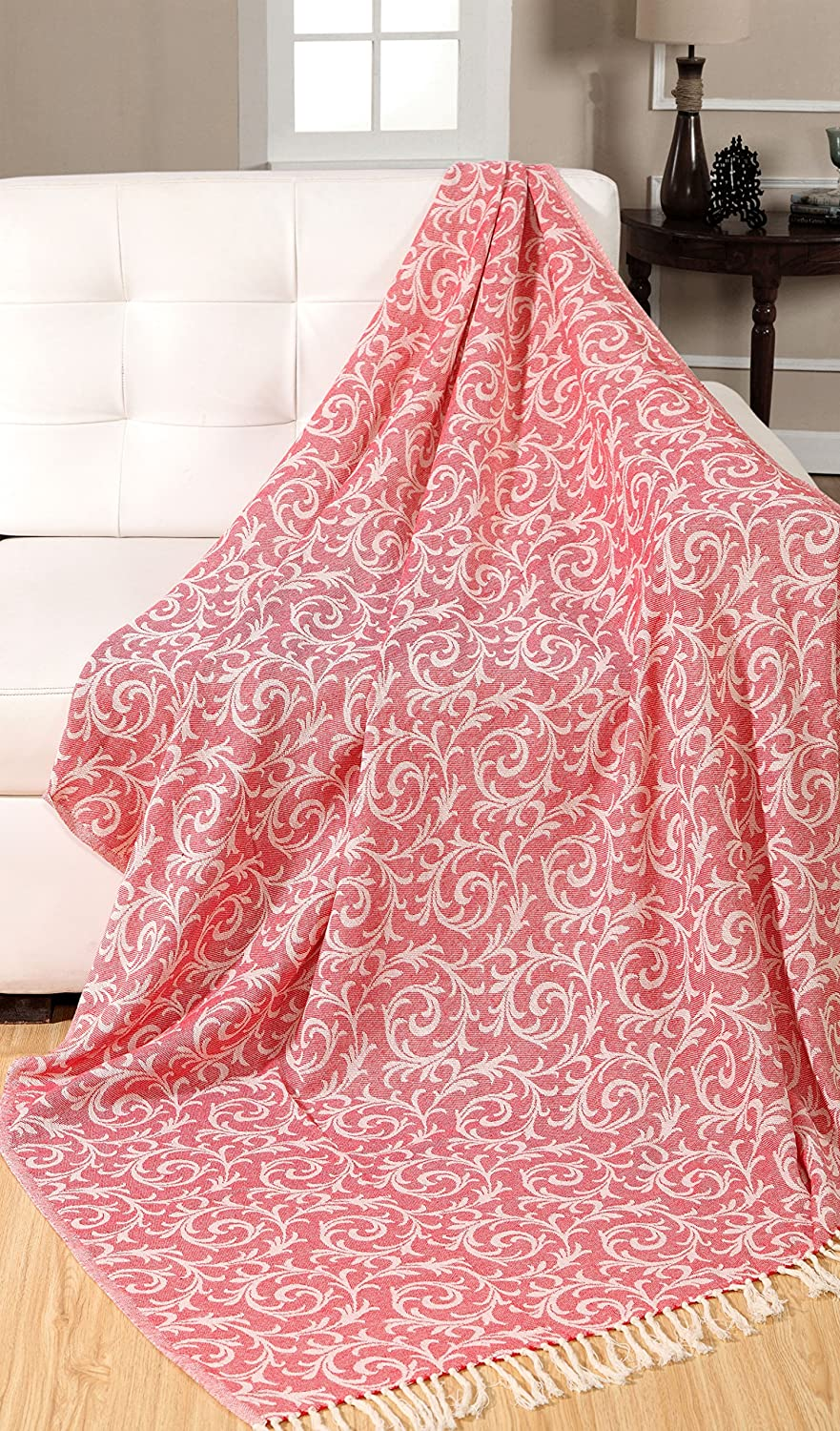 EHC 100% Cotton Vintage Scroll Reversible Soft Throws for Sofa Blanket 125 x 150cms, Red, Single Elite Housewares E9-SCROLL1215RE