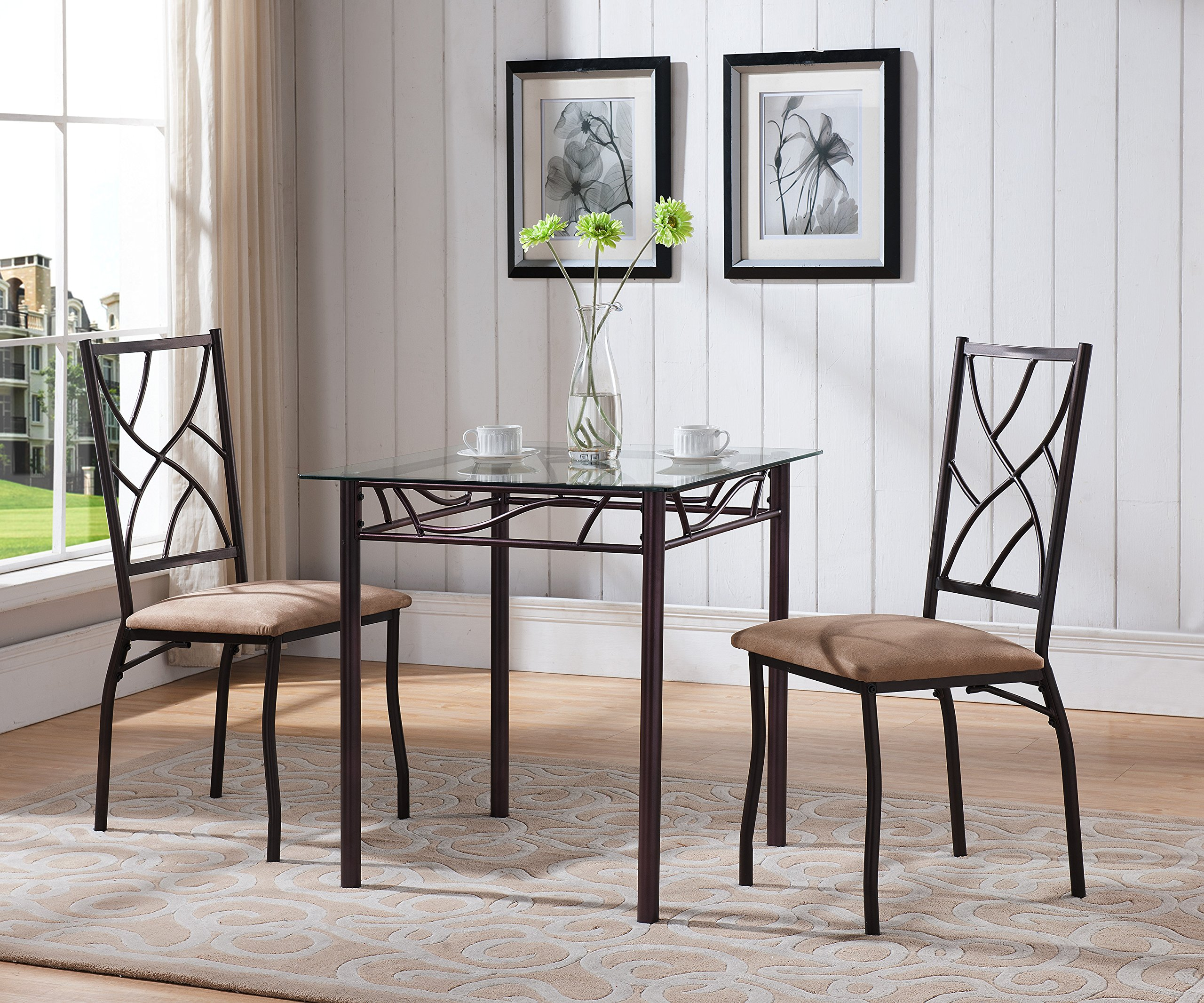 Kings Brand Furniture 3 Piece Bronze Metal Square Dining Kitchen Dinette Set, Table & 2 Chairs by Kings Brand Furniture