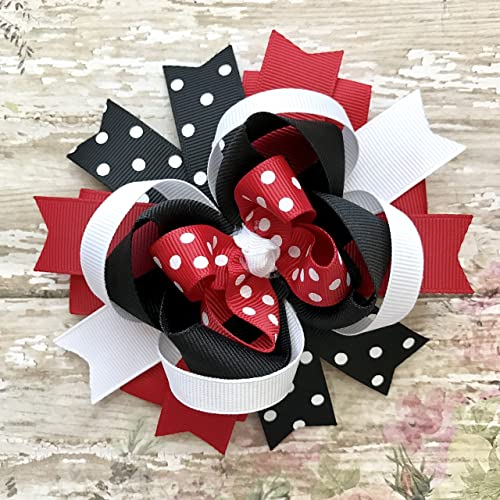 Double Ribbon Hair Bow on a slim Headband School Hair Band in Red,navy or Black