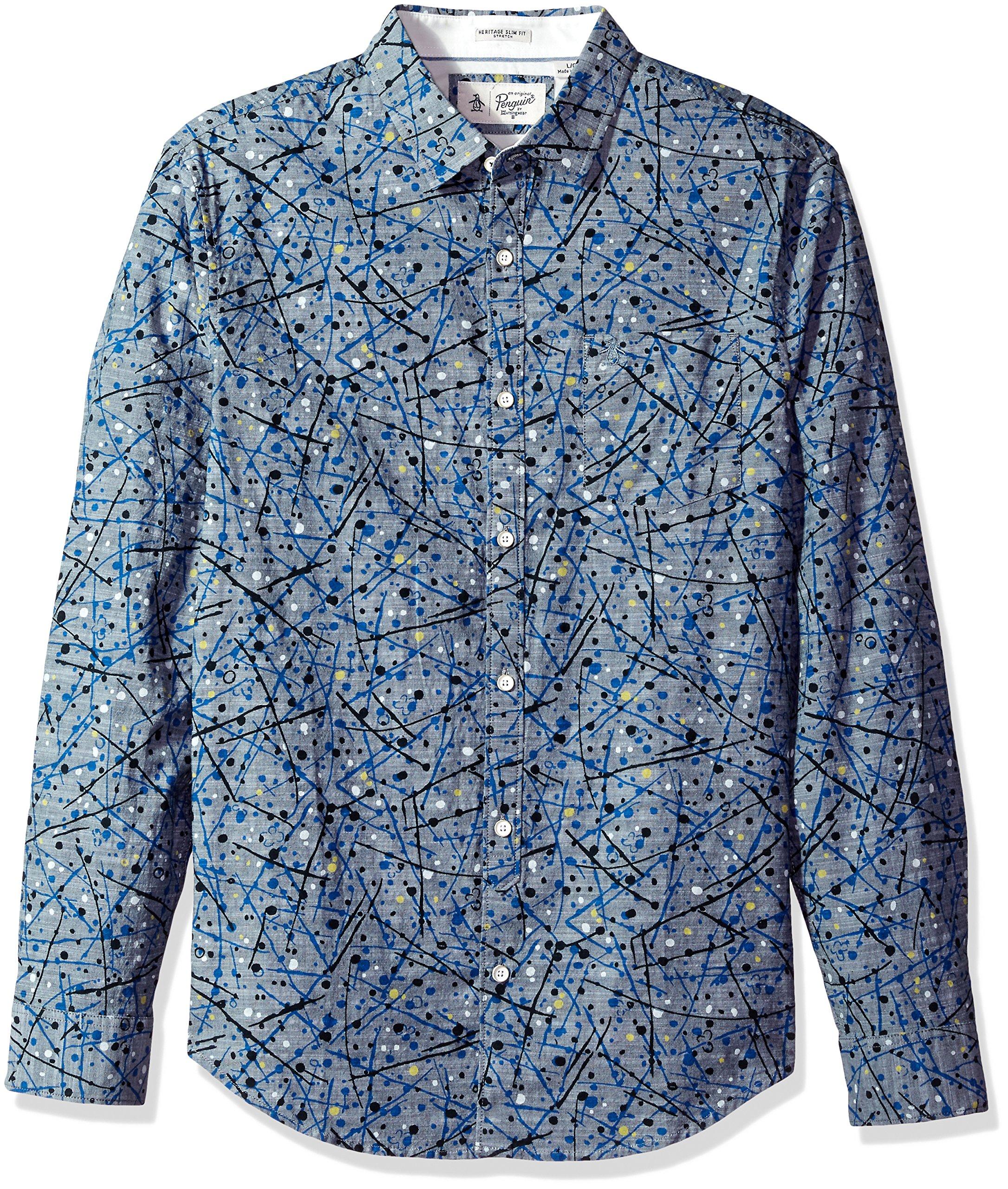 Original Penguin Men's Splatter Print Dress Shirt, Snorkel Blue, Extra Large
