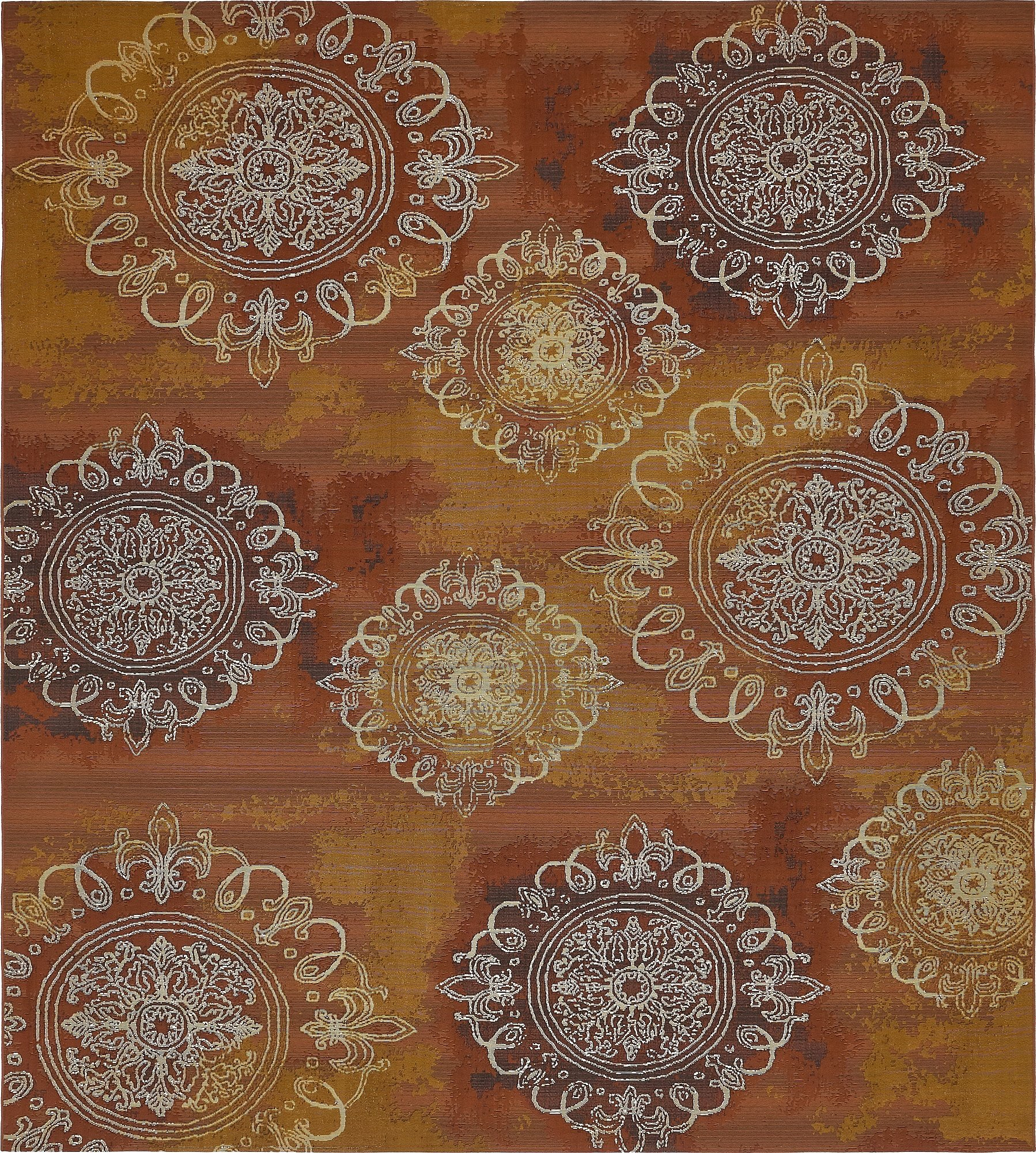 Unique Loom Eden Outdoor Collection Rust Red 10 x 12 Area Rug (10' x 12')