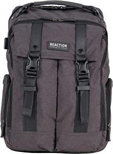 """Kenneth Cole Reaction 600d Polyester Dual Compartment 15.6"""" Laptop Travel Backpack, Charcoal"""