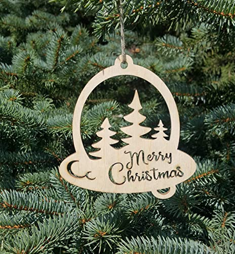 WOOD CHRISTMAS ORNAMENT Set of 14  Wooden Christmas Tree Decoration Laser Cut Christmas Ornaments Wooden Christmas Decorations