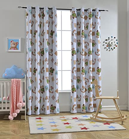 Melodieux Teddy Bear Room Darkening Blackout Grommet Top Curtains Drapes For Kids 52quot