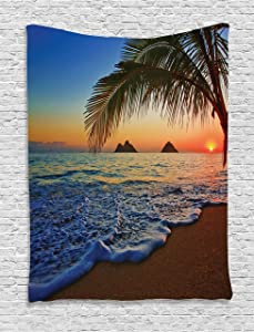 """Ambesonne Hawaiian Tapestry, Pacific Sunrise at Lanikai Beach Hawaii Colorful Sky Wavy Ocean Surface Scene, Wall Hanging for Bedroom Living Room Dorm Decor, 40"""" X 60"""", Blue Ivory"""
