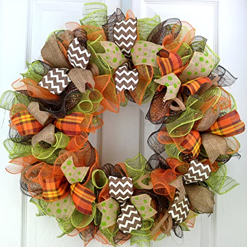 Bon Fall Wreaths | Thanksgiving Deco Mesh Front Door Wreath; Brown Green Burlap  Orange : F1