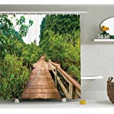 Ambesonne House Decor Shower Curtain Set, Wood Bridge Around Mangrove Forest, Thapom Krabi Thailand Natural Landscape, Bathroom Accessories, 84 Inches Extralong