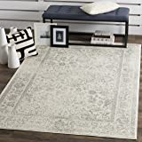 Safavieh Adirondack Collection ADR109C Ivory and Silver Oriental Vintage Distressed Square Area Rug (8' Square)