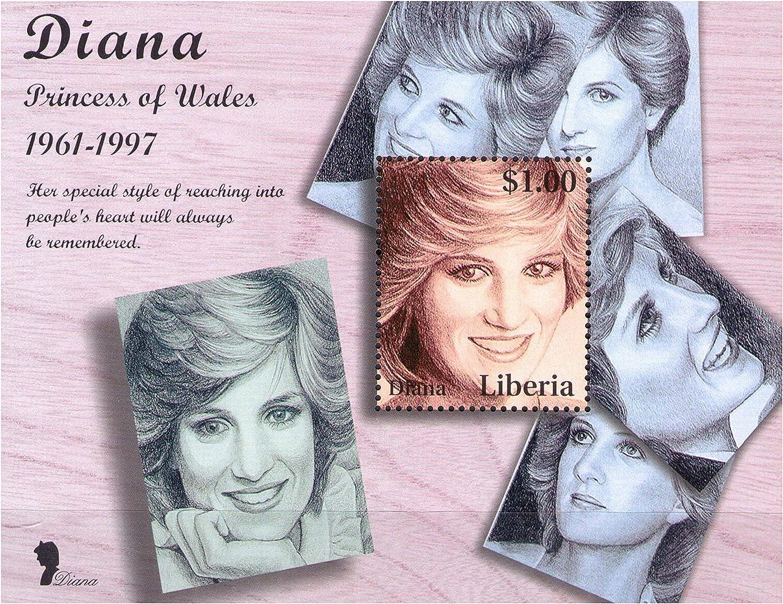 Princess Of Wales Lady Diana Commemorative Souvenir stamp sheet Liberia // 1998// 1 Stamp // MNH Tribute to Lady Diana 1961-1997