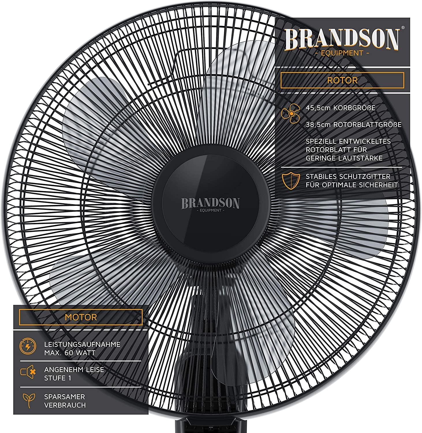 Brandson 93303368922 Ventilador de pie, Negro, 99-134 cm: Amazon ...