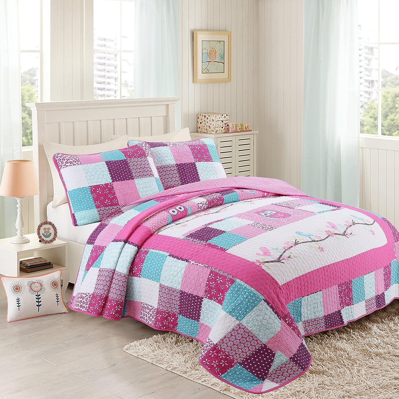 Newrara Owl Bedding Quilt Set Twin For Kids/Girls 2Pcs