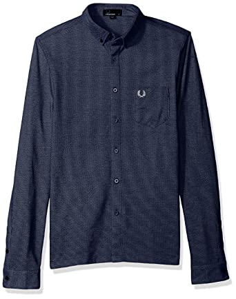 4791a2f7 Amazon.com: Fred Perry Men's Oxford Pique Long Sleeve Shirt, Medieval Blue  XX-Large: Clothing
