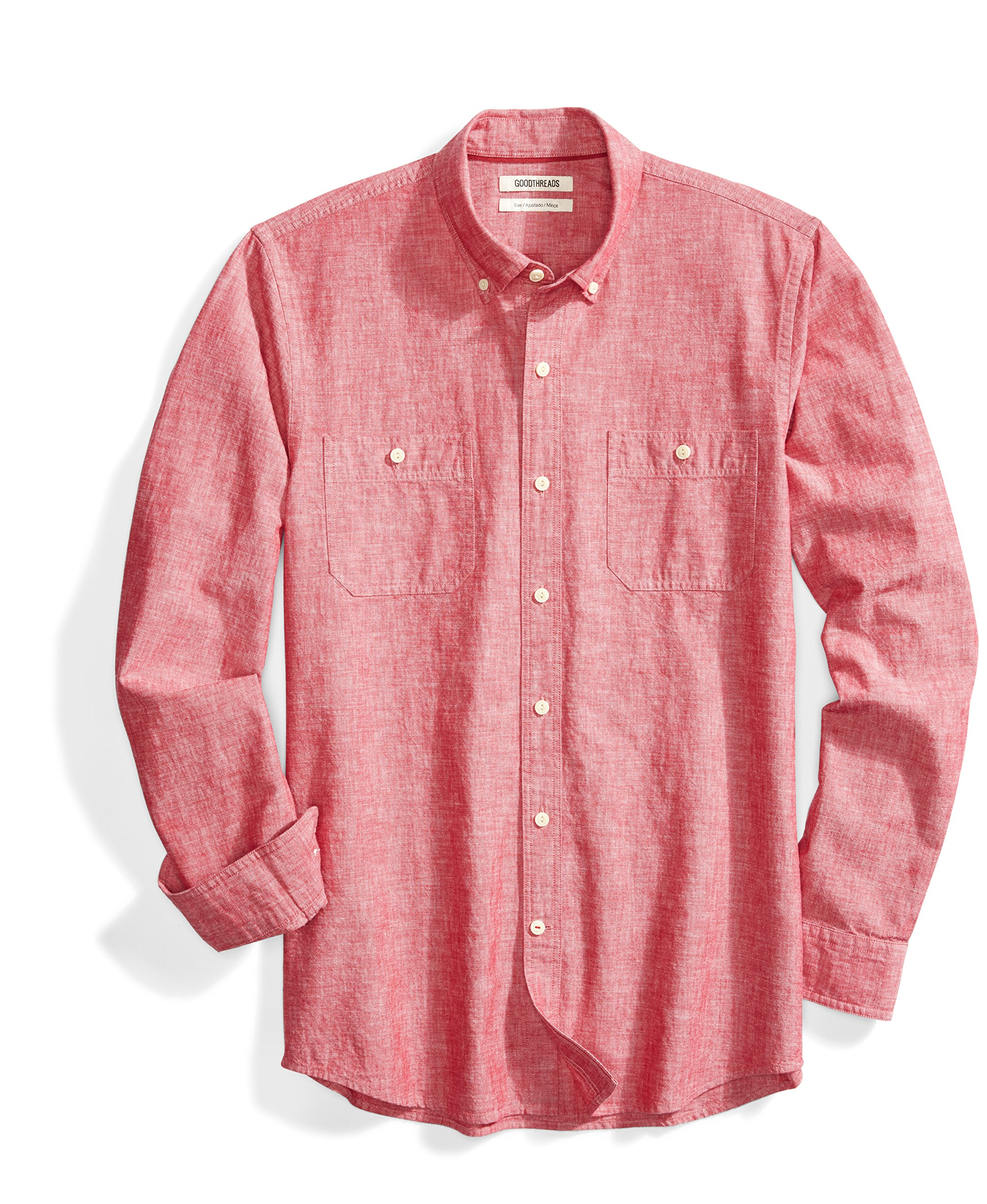 Goodthreads Men's Slim-Fit Long-Sleeve Chambray Shirt, Red, Small