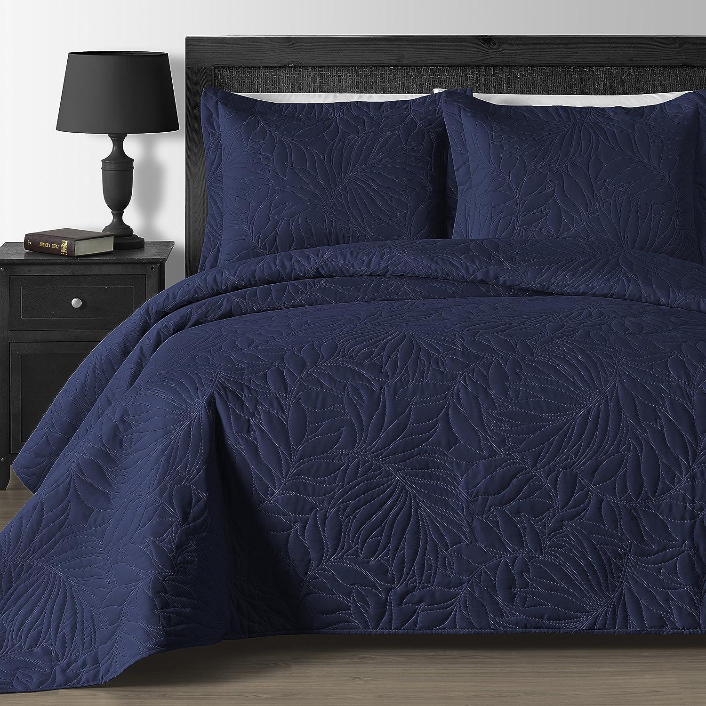 快適な寝具Foliage押しThermal 3ピースオーバーサイズCoverletセット Full/Queen ブルー B07D32R1NS