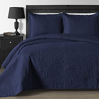 Comfy Bedding Extra Lightweight and Oversized Thermal Pressing Leafage 3-Piece Coverlet Set (King/Cal King, Navy Blue)