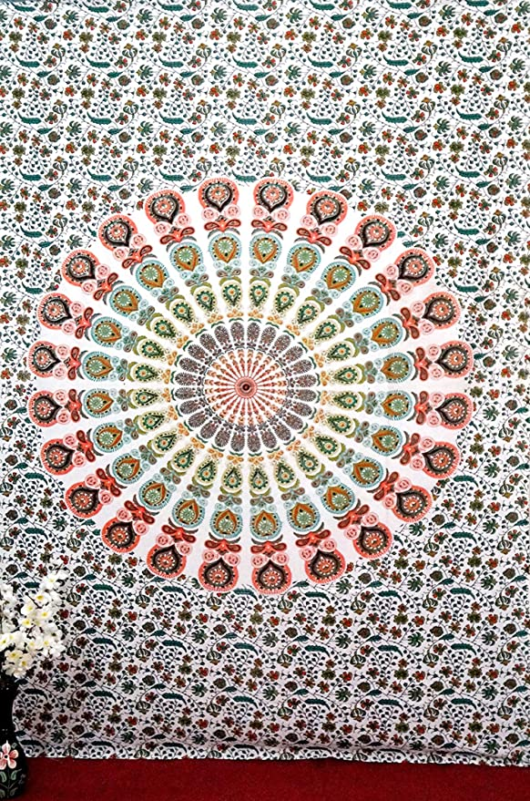 Indian Mandala Pared Tapiz, Hippie Hippy Tapestries, algodón, tapiz de impresión de pavo real de plumas hecho a mano Twin de dormitorio para mesa 140 x 215 cm por Big Online Bazar: