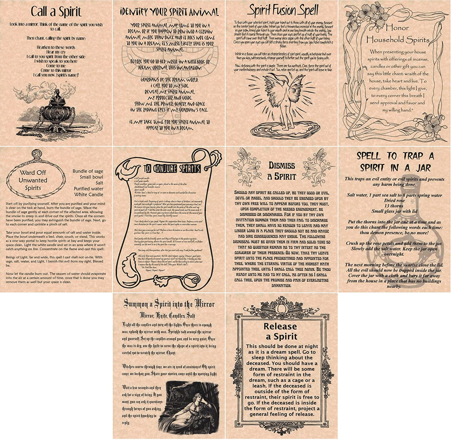 Book of Shadows Spell Pages, Set of 10 Spirit Spells, Wicca, Witchcraft,  Spirit Working, Real Spells (Copper)