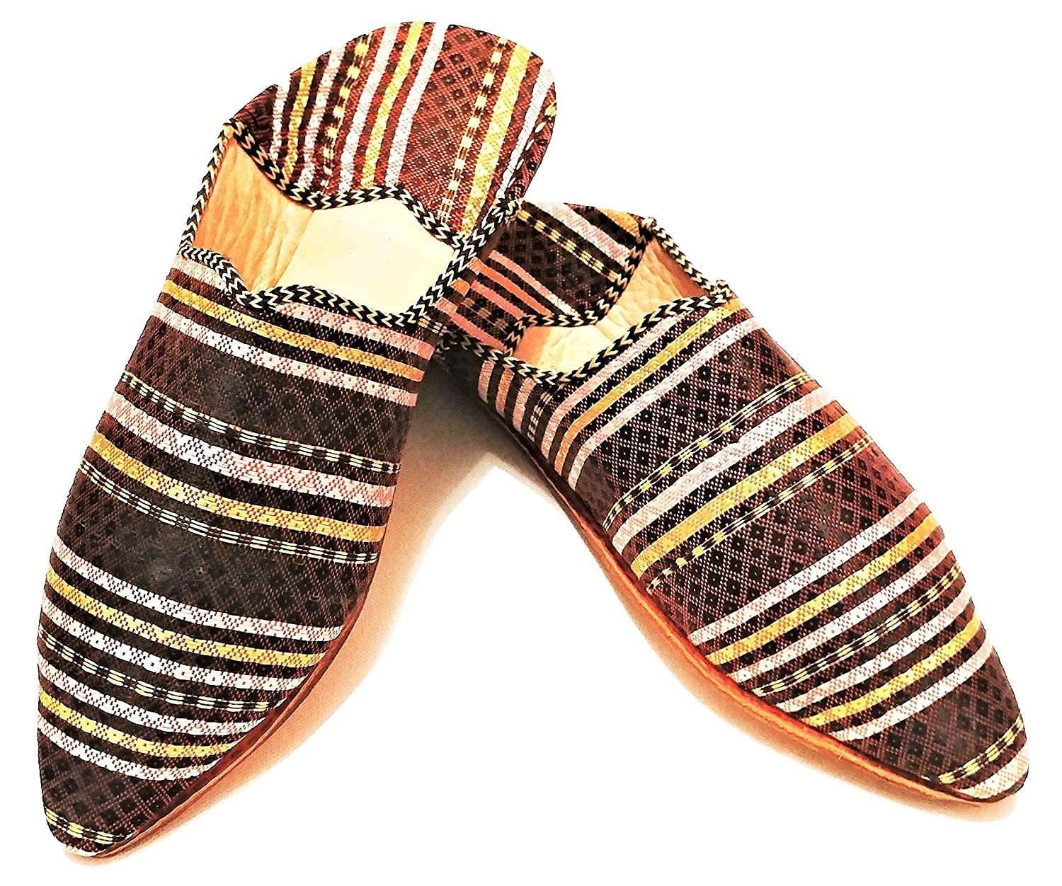 da68d9ec51fe0 lovely Moroccan Babouche Flat Fabric with Leather Sole Handmade ...