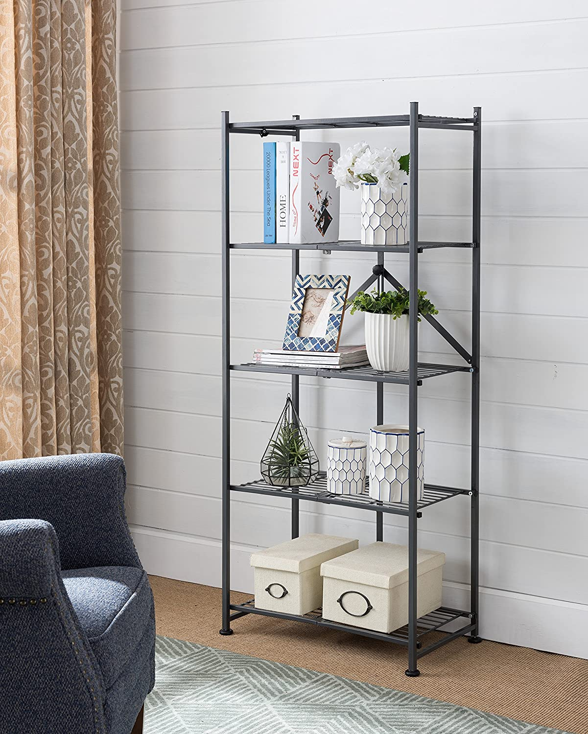 Kings Brand Gray Metal Home & Office Folding Storage Bookcase Organizer Display Unit, 3 Tier, 3 Tier Kings Brand Furniture BK2403
