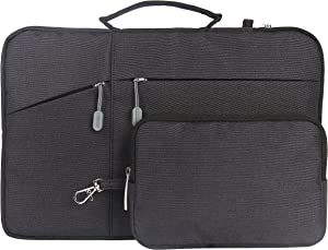 """Megoo 12inch Sleeve Case with Accessory Pouch for Microsoft Surface Pro X/7/6/5/4/3 12.3"""",Water Resistant Slim Carry Case for Most 11-11.6-12 Samsung/Macbook Chromebook Tablet(Black With Charger Case)"""