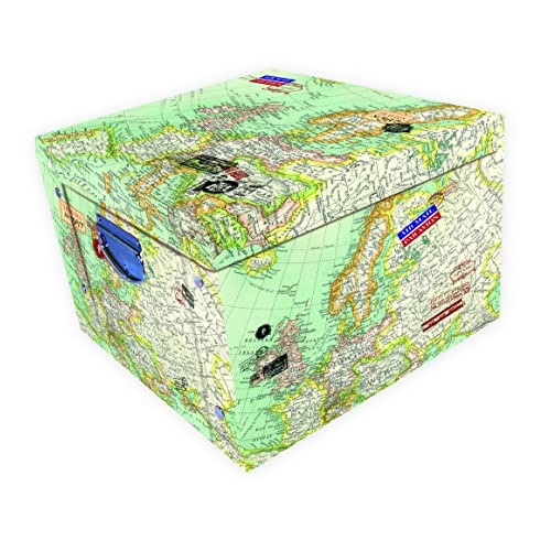 Robert Frederick Vintage Map Collapsible Storage Box, Plastic, Assorted