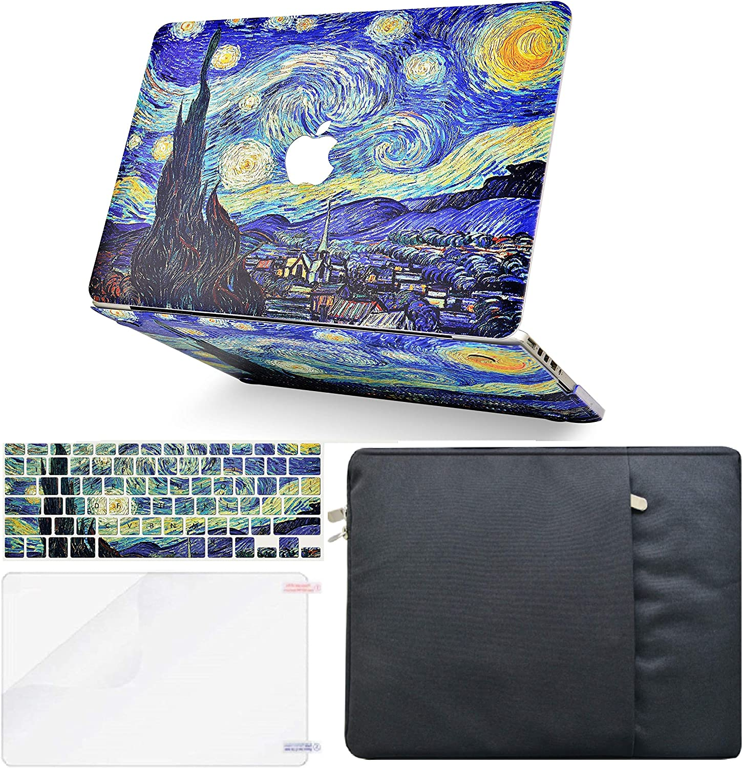 LuvCase 4 in 1 Laptop Case Compatible with MacBook New Air 13 Inch (2021/2020) A2337 M1/A2179 (Touch ID) Retina DisplayHardShellCover, Sleeve, Keyboard Cover & Screen Protector (Starry Night)
