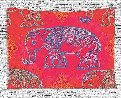 Amazon.com: Ambesonne Psychedelic Tapestry, Ethnic Elephant Icon ...