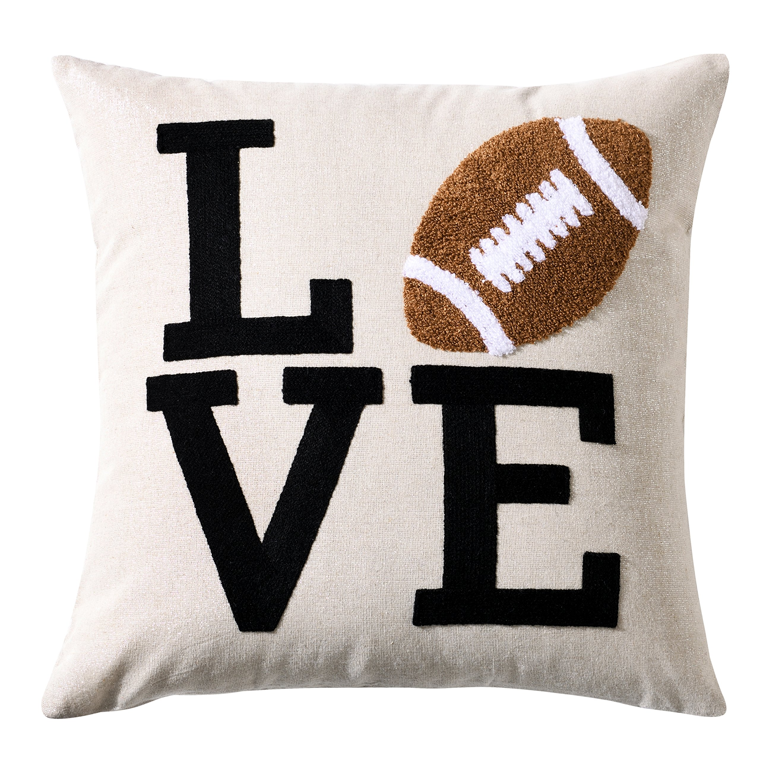 Embroidery Love Sports Series American Football Rugby Decorative Throw Pillow Cover Metallic Silver Linen Cushion Cover Boys Girls NFL Gifts Square 18x18 inch