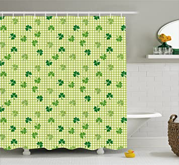 Irish Shower Curtain By Ambesonne Retro Classical Checkered Pattern Decorated With Cute Green Shamrocks Garden