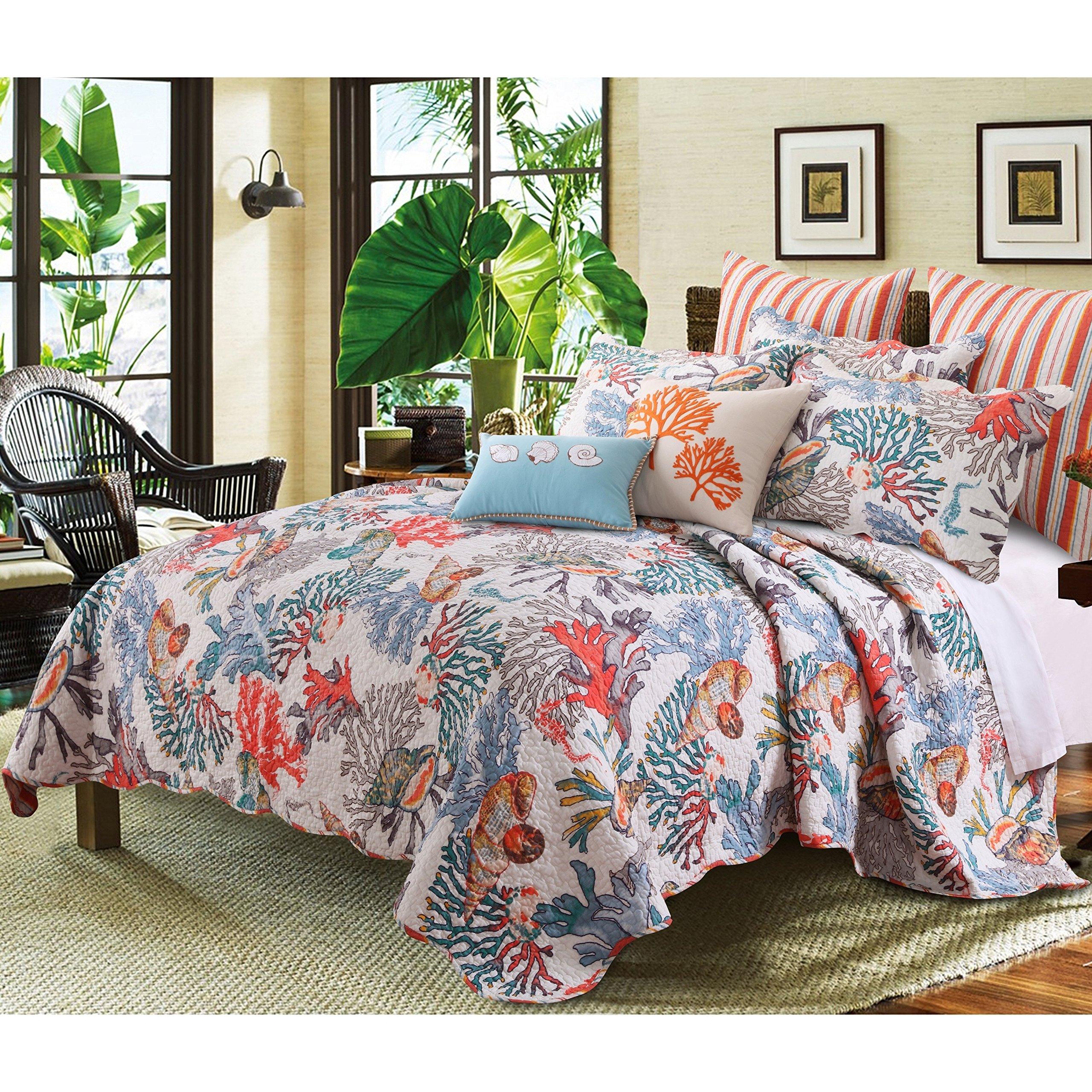 4 Piece Dreamy Atlantis Themed Reversible Quilt Set Twin Size, Classic Deep Coastal Printed Corals Themed Bedding, Dense Ocean Creatures Design, Artful Stylish Teenage Girls Bedroom, Blue, Orange