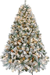 YAHEETECH Pre-lit Artificial Christmas Tree with Incandescent Warm White Lights,Prelighted Xmas Tree with Foldable Stand (6ft, White)