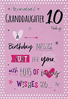 To A Special Granddaughter On Your 10th Birthday Card