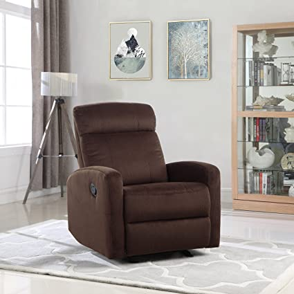Overstuffed Sleek Modern Living Room Linen Fabric Recliner Chair (Dark Brown) & Amazon.com: Overstuffed Sleek Modern Living Room Linen Fabric ...